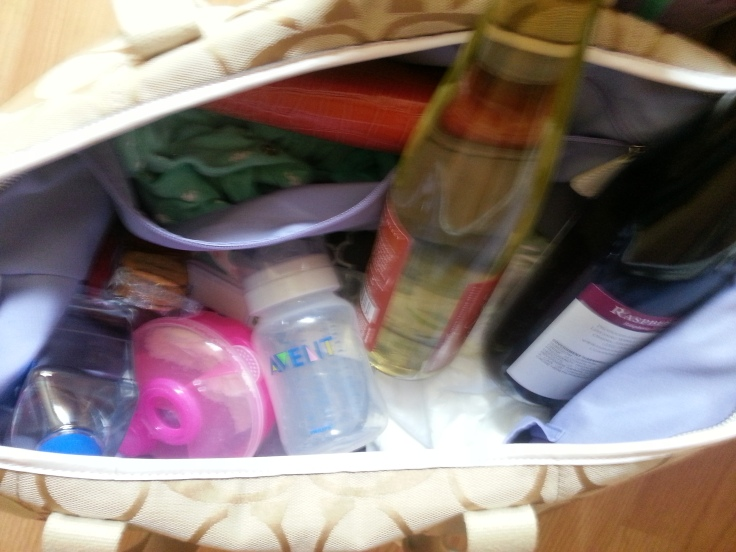 wine in diaper bag
