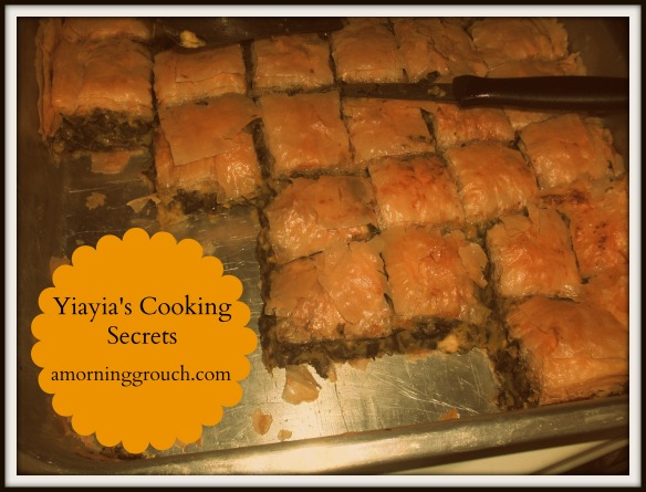 Yiayia's authentic spinach pie recipe and secret cooking tips and tricks.