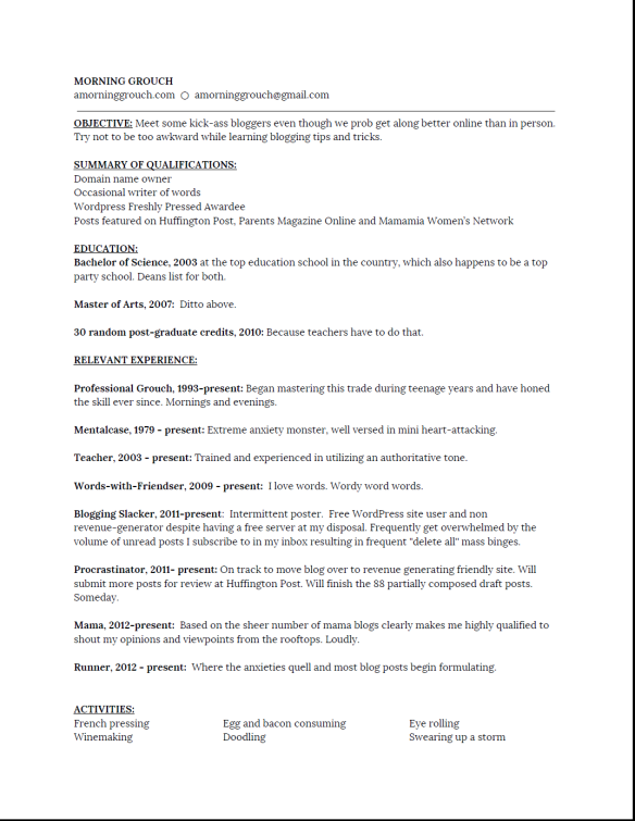 Bloggy Resume 1