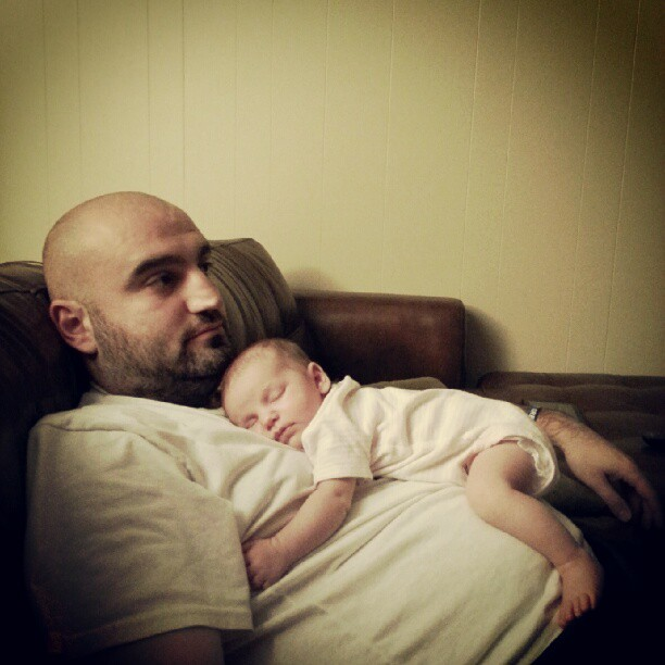 P and dad snuggling